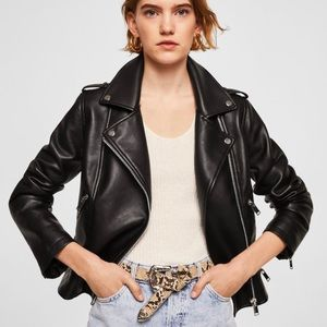 NWT Black Appliqué Biker Vegan Leather Jacket